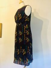 Great Plains, French Navy Multi -Ruched Bodice -Sleeveless Lined Dress. M.  BNWT