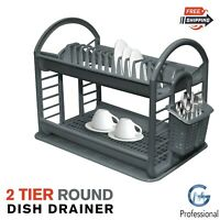 2 Tier Round Kitchen Dish Drainer Cutlery Holder Plates Bowls Utensil Rack Tray