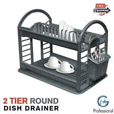 2 Tier Round Kitchen Dish Drainer Cutlery Holder Plates Bowls Utensil Rack Tray