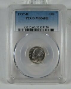 1957-D Uncirculated Roosevelt Dime Certified PCGS MS 66 FB