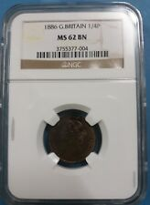 1886 Great Britain Farthing, 1/4P MS62 BN