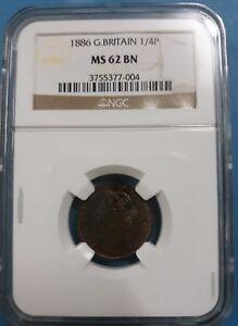 1886 Great Britain Farthing, 1/4P MS62 BN