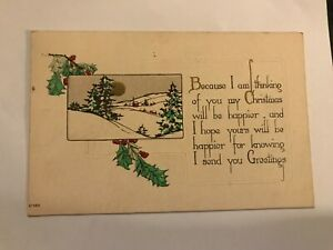 Thinking of you My Christmas Will be Happier Arts and Crafts Postcard