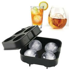 Round Ice Ball Maker Tray FOUR Large Sphere Mold Cube Whiskey Cocktail