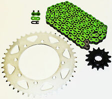1990-2014 KAWASAKI KL650 KLR650 650 GREEN CHAIN AND SPROCKET 14/43 110L
