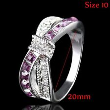 Fashion Purple Amethyst White Gold Filled Cross Finger Rings Gifts Jewelry 10