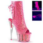 PLEASER Adore-1018G Black UV Pink Silver Gold Glitter Open Toe Ankle Calf Boots