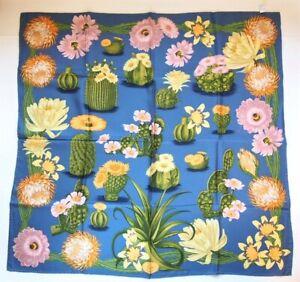 GUCCI Scarf Stole Floral Flower Cactus Blue Vintage Silk Botanical New Unused 90