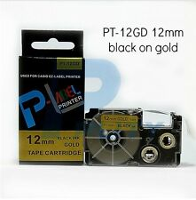 Casio XR-12GD Compatible Black on Gold 12mm 8m Label Tape KL60 G2 100 130 820