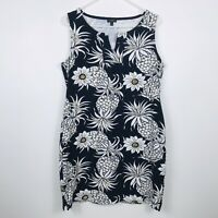 Talbots Women's Tank Dress Size L Navy Blue with Pineapples Stretchy Sun Beach