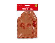 4 Grande Etichette Regalo Gigante con Cordoncini di Natale Babbo UK