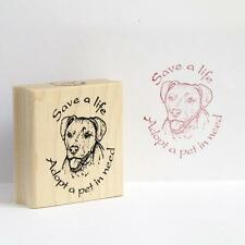 Save a life Adopt a Pet in Need Pit Bull Rubber Stamp - (RH50015) FREE SHIPPING
