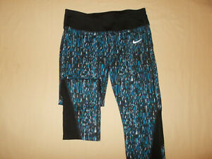 NIKE DRI-FIT BLACK & BLUE FITTED CAPRI RUNNING PANTS WOMENS MEDIUM EXCELLENT