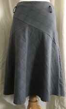 Ladies Charcoal Grey glitter Finish Check Calf Length Skirt By New Look 10