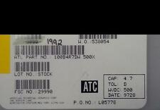 Lot Of (200) Atc Porcelan Power Multilayer Cap Atc100B4R7Dw500X 4.7Pf 500 Wvdc