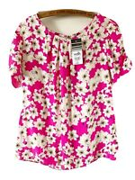 New Wallis Blouse Top £28 Pink White Floral Print Daisy Retro Short Sleeve 10