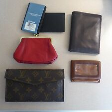 Lot of 7 wallets, checkbook, business card holders, coin purse some leather