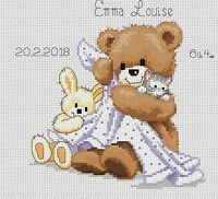 Cross Stitch Chart - New Baby Birth Sampler Bear & Blanket  FlowerPower37-uk