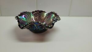 Amethyst IMPERIAL CARNIVAL GLASS PURPLE ZIPPERED HEART  BOWL