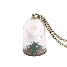Luminous  Dried Flower In Bell Jar Pendant Necklace  Rose Terrarium Beauty