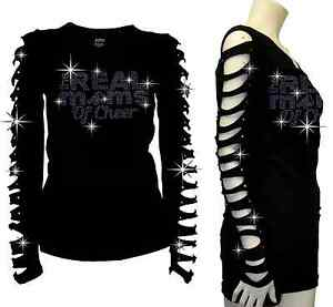 Bling Bling Cheer Mom RHINESTONES T-SHIRT,RIPPED SLIT CUT OUT Real Moms S/M/L