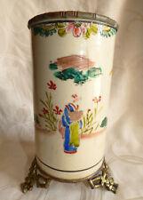 Ancien Vase en Faience Chinois Signé Monture Bronze Bambou Pot à Pinceaux ???