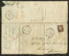 p707- Sc#3 GB 1843 PENNY RED with MX Folded Printed Document (partial) Cover