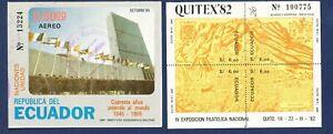ECUADOR - Scott 1023 & 1106 - FVF used S/S - UN Flags, Philatelic Expo - 1982-85