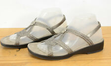 Minnetonka Womens Sz 8 Ava Pewter Silver Gray Summer Slingback Slide Sandals