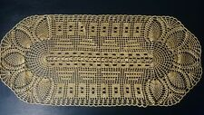 Vintage original tissé or nappe faite main faite sur le crochet