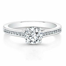 0.66 Ct Diamond Engagement Ring For Her 18K Solid White Gold Ring Size 5.5 6 7 8