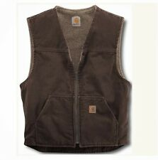 Carhartt Sandstone Rugged Vest MENS XL BROWN Sherpa Lined V-Neck V26 NWT IRR