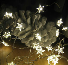 Timer LED Sterne Lichterkette Silberdraht Batterie betrieben Dekoration Draht