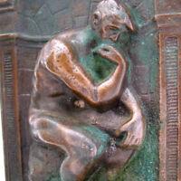 2PCS ANTIQUE VINTAGE The THINKER BOOKEND BOOK END ENDS METAL Bronze Cast Iron ?