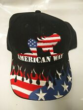 US American Way Pride Girl And Flag Embroidered Design Curved Bill Hat New gift