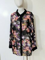 Autograph Sheer Long Sleeve Blouse Shirt Plus Size 16 Black Floral Lace Business