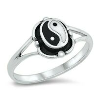 Yin Yang Ring Genuine Solid Sterling Silver 925 Jewelry Face Height 10mm Size 10