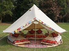 Waterproof Cotton Canvas 4M Bell Tent with Zipped Ground Sheet for Family Camp