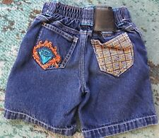 Dickies 24m Jeans Shorts Youth Pull-on Mock Faux Snap Orange Embroidery Elastic