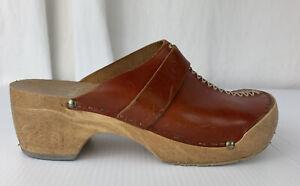Women's Vintage Brown Leather J&P Clogs Size EU38 Uk 5 US 7