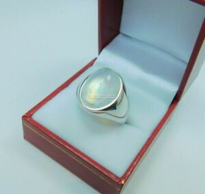 Natural White Rainbow Moonstone with 925 Sterling Silver Ring for Men's EG1165
