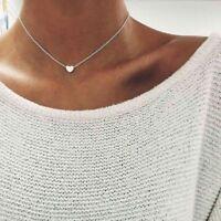 Women Simple Jewelry Pendant Silver Gold Heart Choker Chunky Chain Bib Necklace