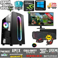 Fast Gaming PC Computer Bundle Intel Quad Core i5 16GB 1TB Win 10 2GB GT710 6FAN