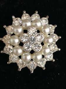 """VTG. LARGE BUTTON RHINESTONES AND FAUX PEARLS  1 1/2"""" DIAMETER"""