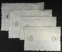 4 MINT VINTAGE MADEIRA OFF WHT LINEN TABLE,PLACE MATS HAND EMBROIDERED IN TAUPE