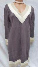 Venus Sweater Dress Stretch Knit Sexy Low Cut Angora Blend  V Neck Colorblock L