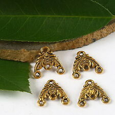 16pcs dark gold-tone 2sided flower connector charms h2217