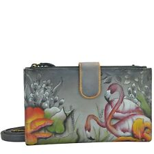Anuschka Handpainted Leather Smartphone Case & Wallet - Flamboyant Flamingos
