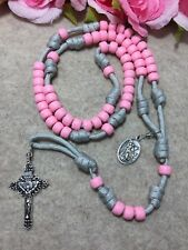 St. Michael Paracord Catholic Rosary - Pink Beads Rosary -Handmade