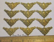 """(Lot of 12) 1-1/2"""" Across - Stamped Brass Corners - Unfinished Brass"""